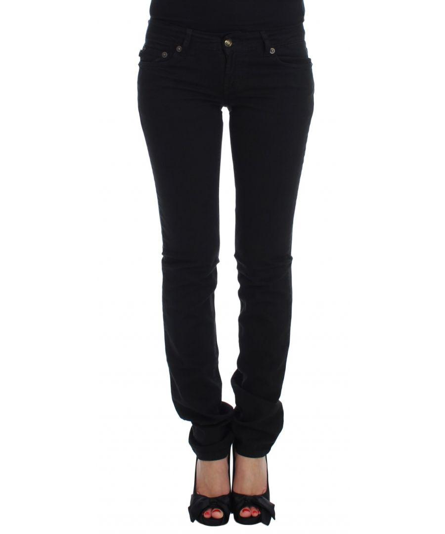 Image for Cavalli Black Cotton Stretch Slim Skinny Fit Jeans