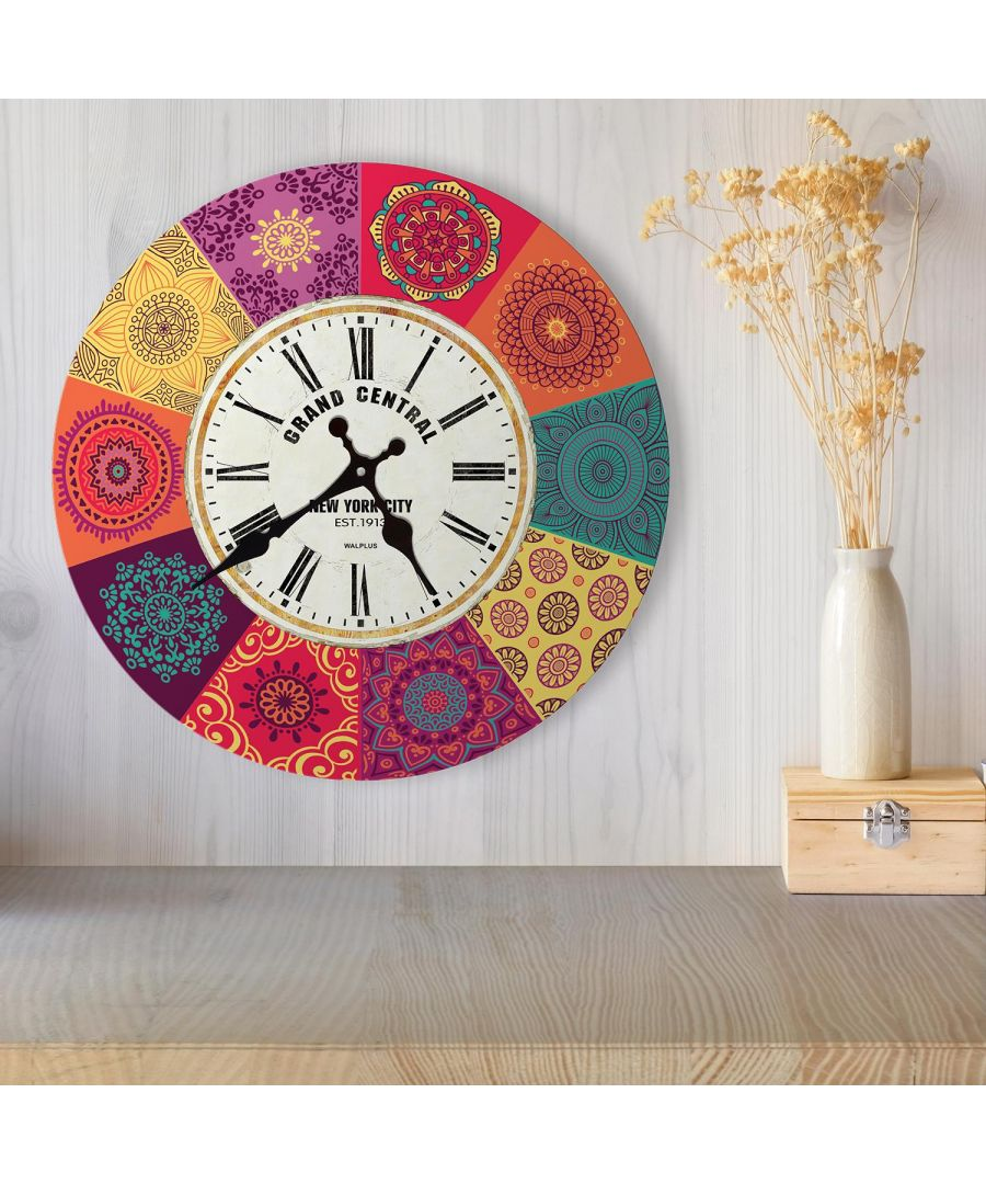 Image for Walplus 30cm Colourful Mandala Tiles Wall Clock, Bedroom, Living room, Modern, Home office essential, Gift