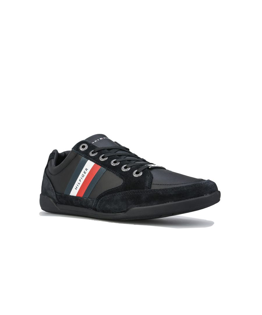Image for Men's Tommy Hilfiger Signature Suede Mix Cupsole Trainers in Black