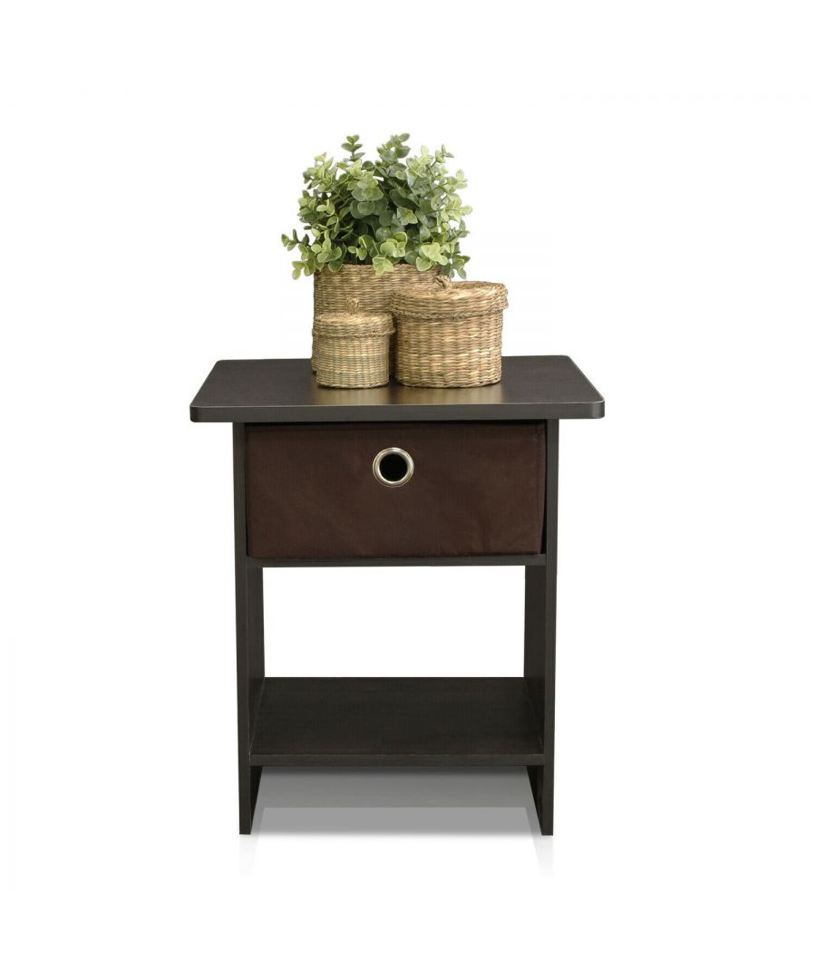 Image for Furinno Dario End Table Night Stand Storage Shelf with Bin Drawer - Espresso with Brown Bin Drawer