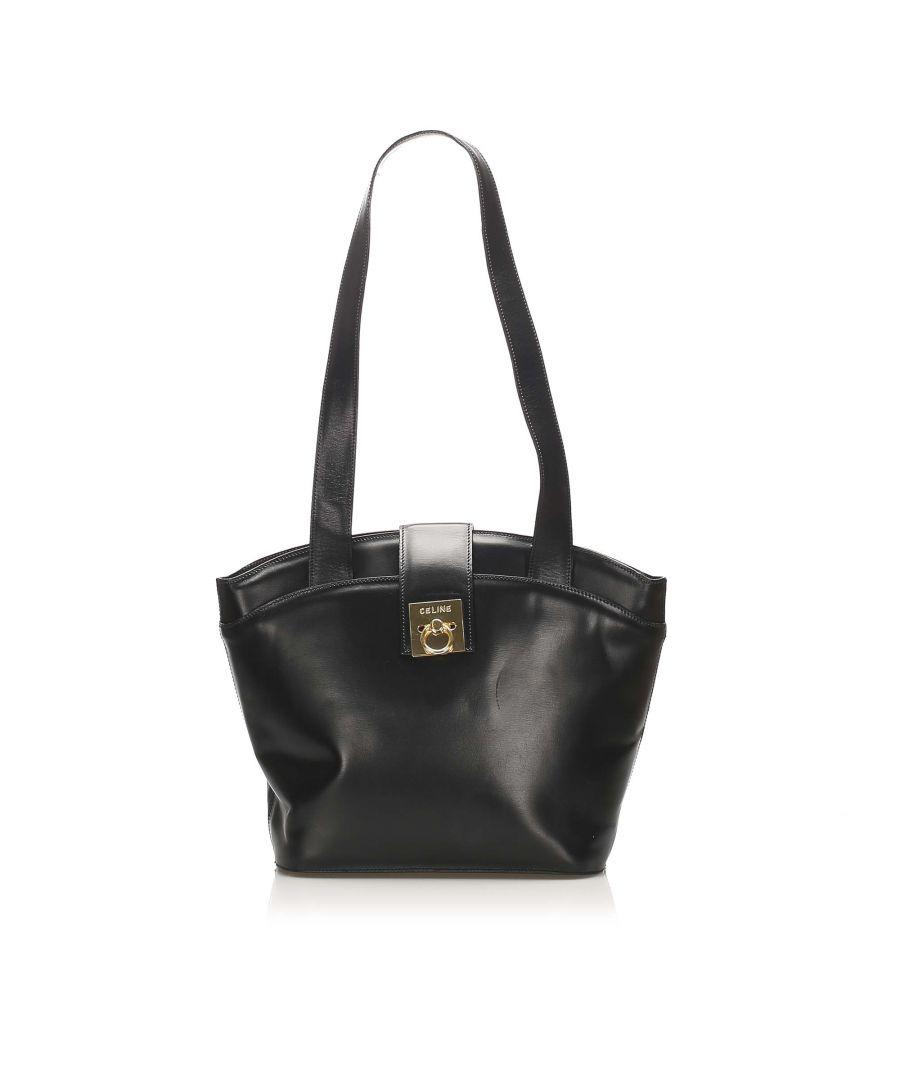Image for Vintage Celine Leather Tote Bag Black