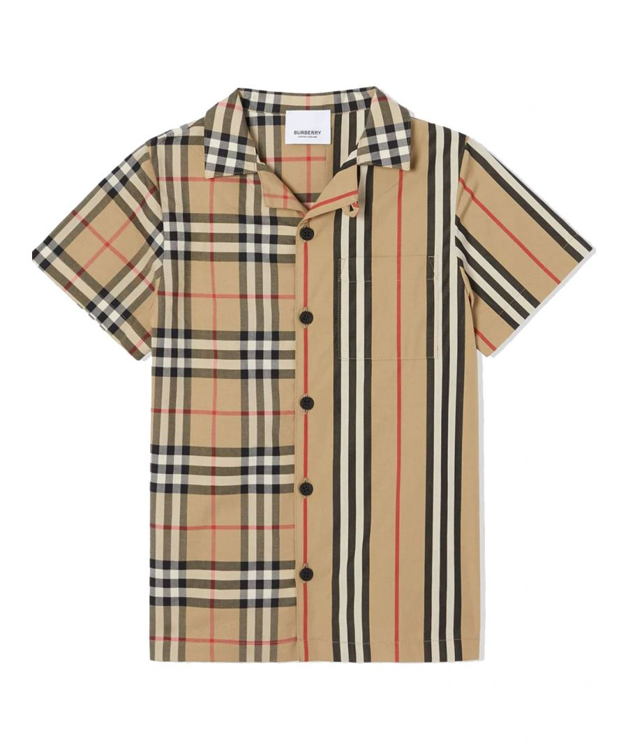 Image for BURBERRY BOYS 8029695 BEIGE COTTON SHIRT