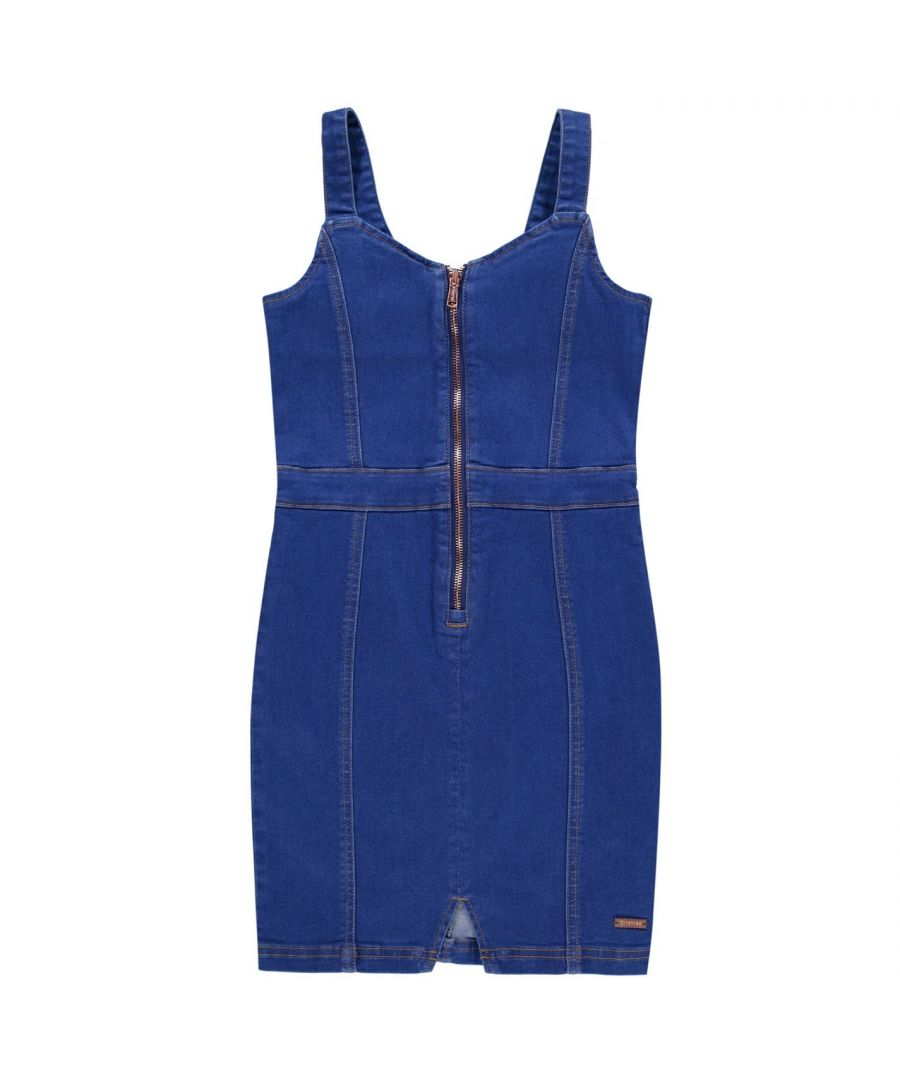 Image for Firetrap Girls Denim Pinafore Strappy Dress Junior V-Neck Rose Gold Zip Top