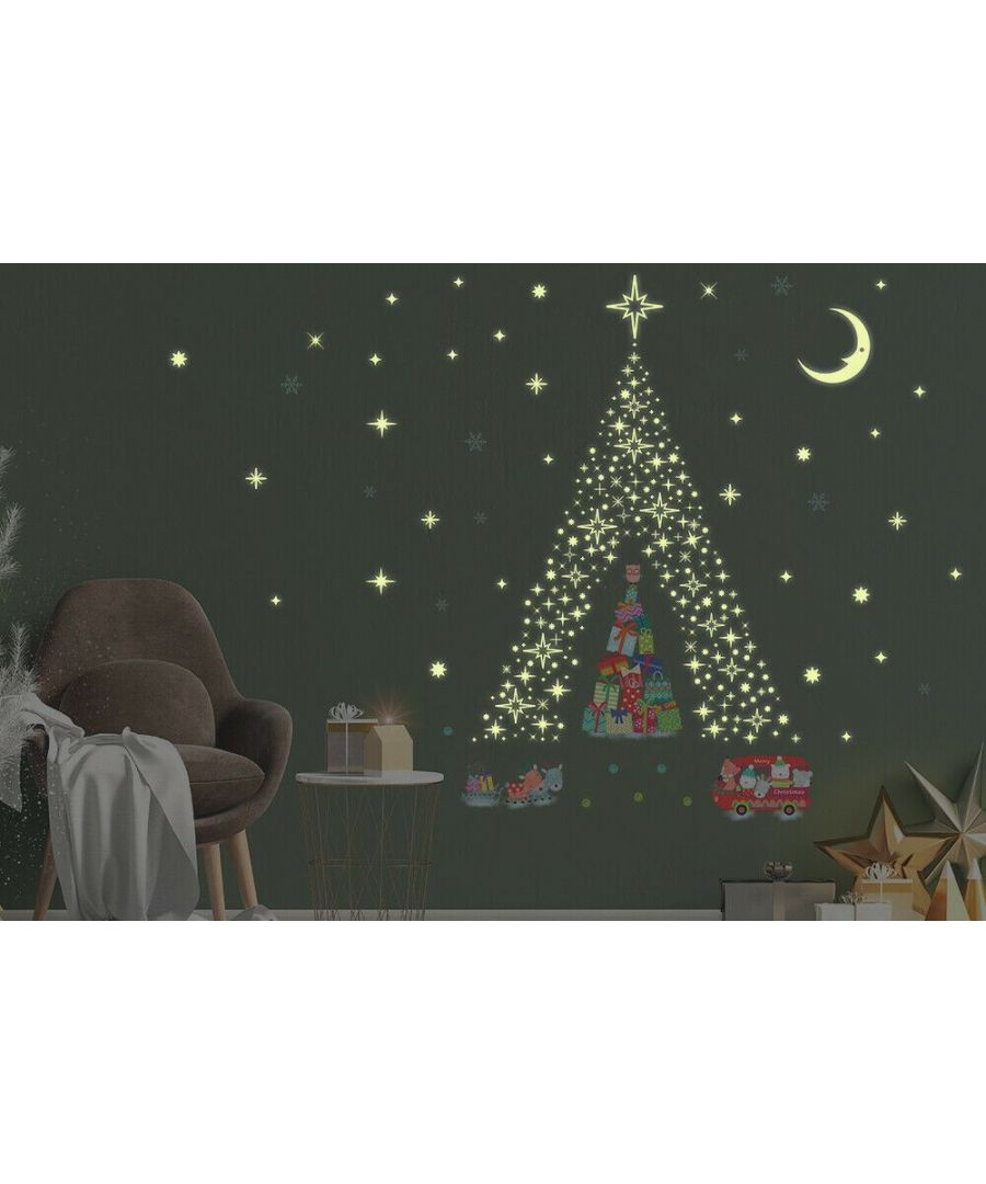 Image for Glow Stars and Reindeer Christmas Tree Stickers  Christmas Wall Stickers, Kitchen, Bathroom, Living room, Self-adhesive, Decal
