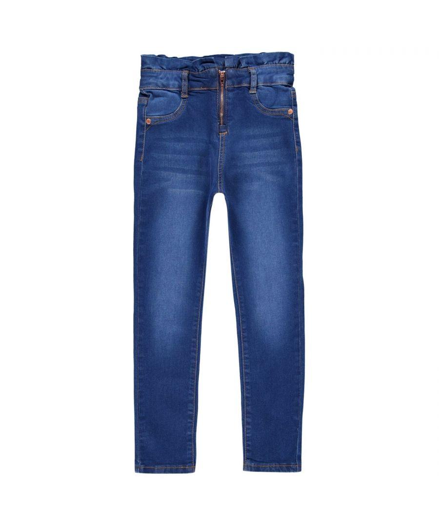 Image for Firetrap Kids HW Zip Jean Girls Skinny Jeans Trousers Bottoms Pants 5 Pockets