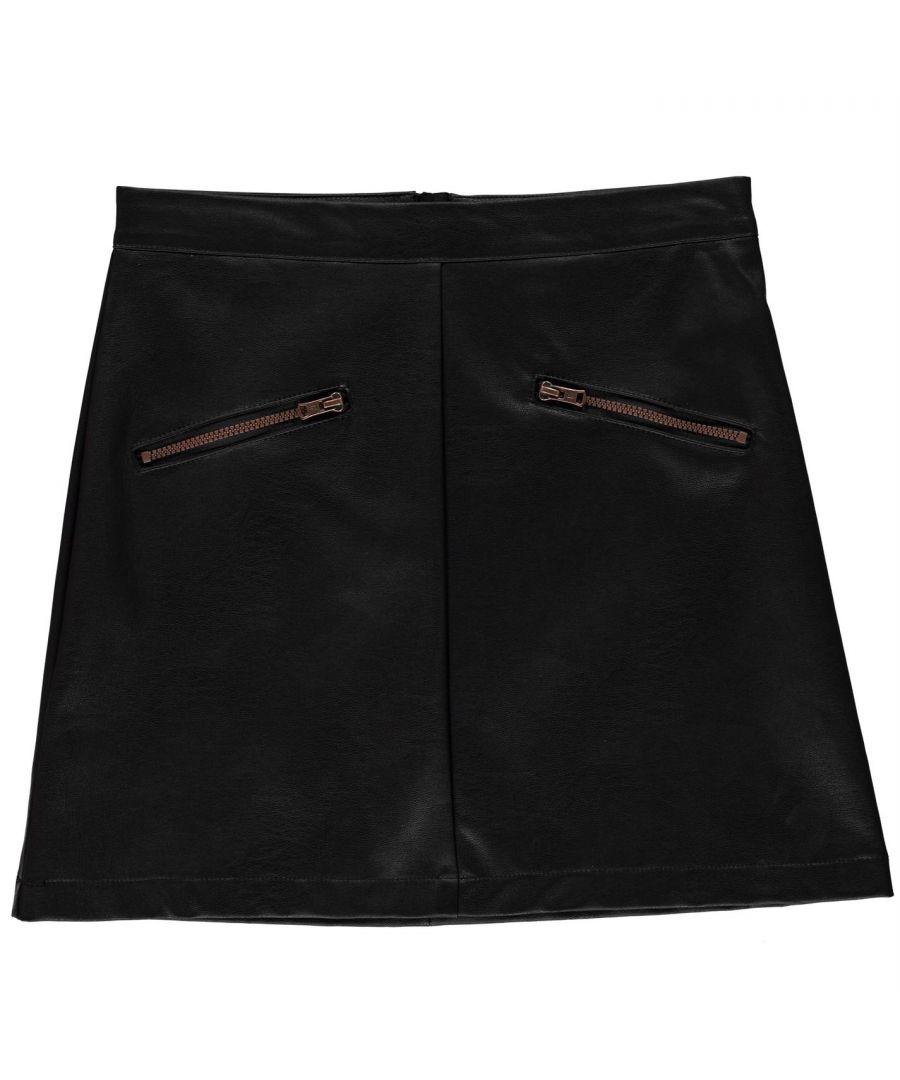 Image for Firetrap Girls PU Mini Skirt Junior Kids Zip Fastening Back Lightweight Bottom