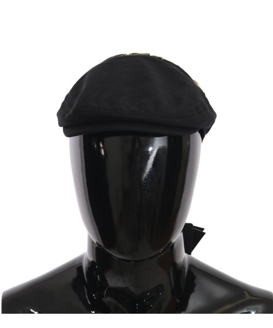 Image for Dolce & Gabbana Black Cotton Stitched Flower Newsboy Hat