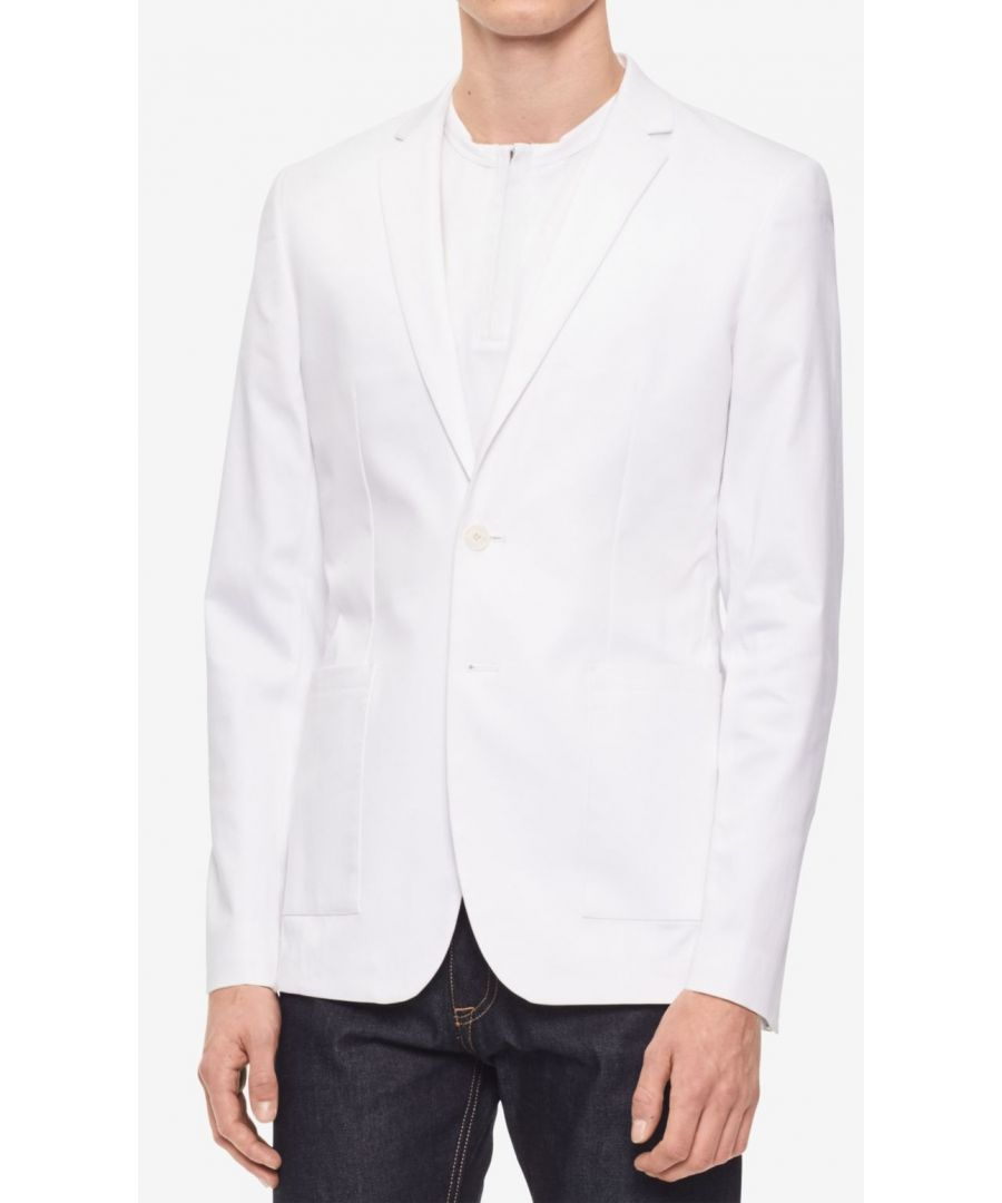 Image for Calvin Klein NEW White Mens Size Medium M Two Button Slim-Flit Blazer