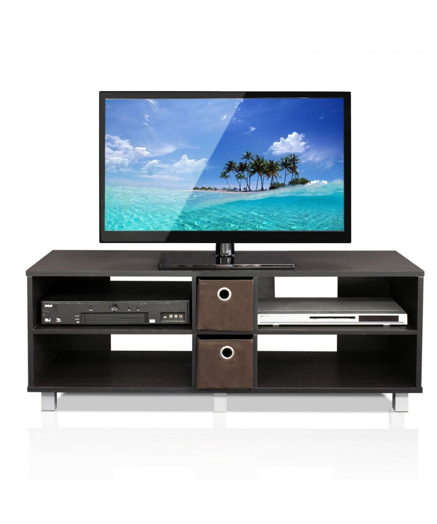 Image for Furinno Dario TV Entertainment Center with 2 Bin Drawers, Espresso/Brown