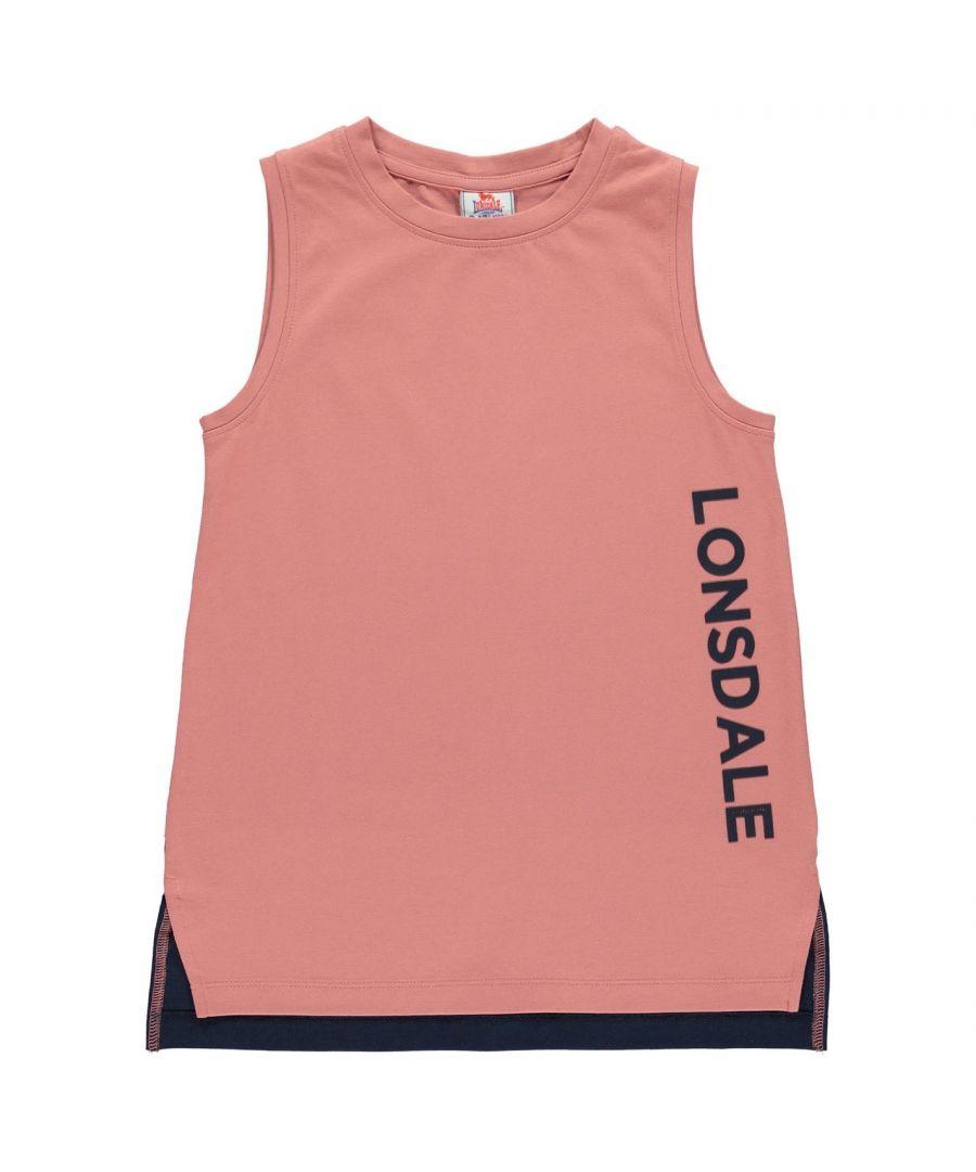Image for Lonsdale Girls Layer Vest Top Junior Tank Sleeveless Crew Neck Lightweight Tee