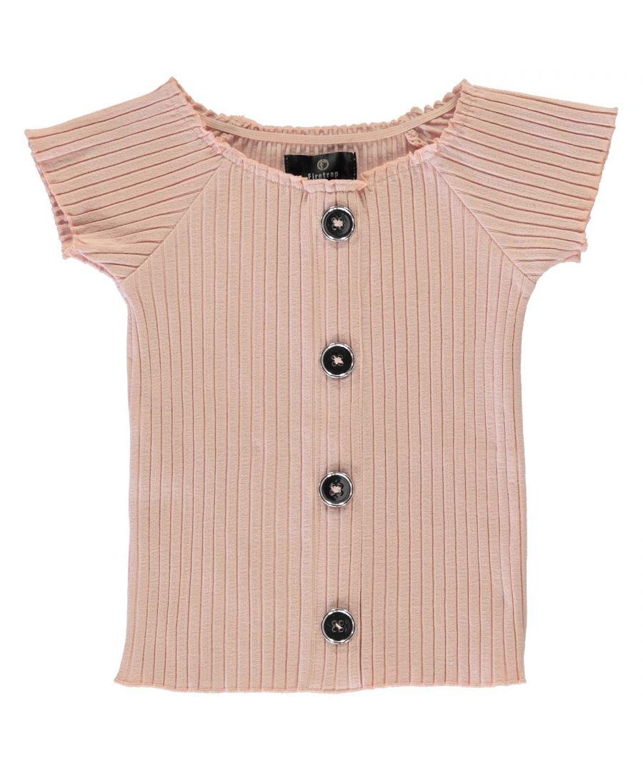 Image for Firetrap Girls Rib Bardot Top Junior Crew Neck Short Sleeves T-Shirt Lightweight
