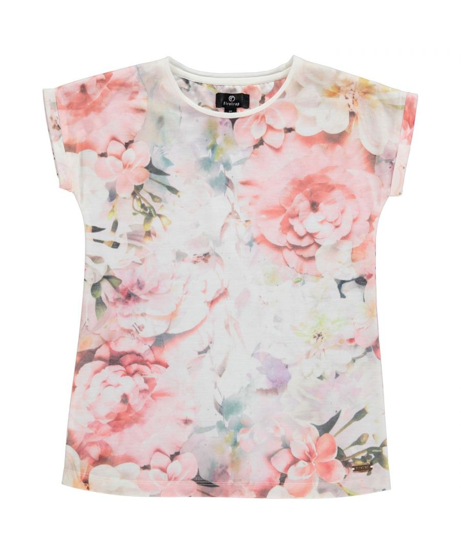 Image for Firetrap Girls Boyfriend All Over Print T-Shirt Junior Crew Neck Tee Top