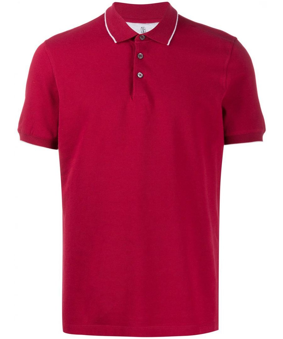 Image for BRUNELLO CUCINELLI MEN'S M0T630718CM286 RED COTTON POLO SHIRT