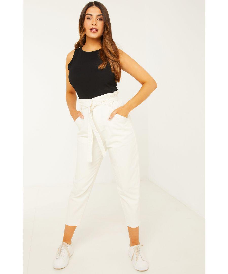 Image for Petite Cream Paper Bag Jeans