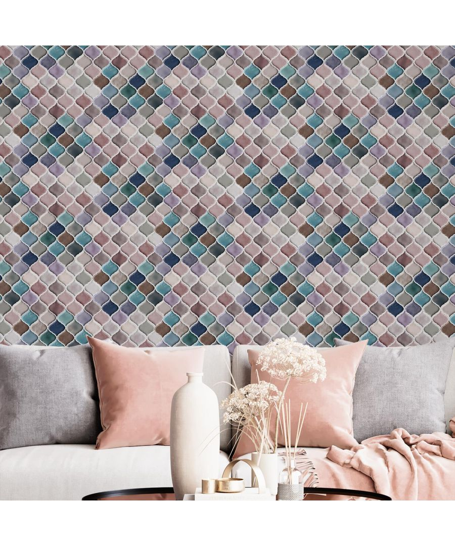 Image for Arabesque Pink And Blue Glossy 3D Self-adhesive DIY Tile Stickers 11 x 8 inches / 28 x 20.3 cm