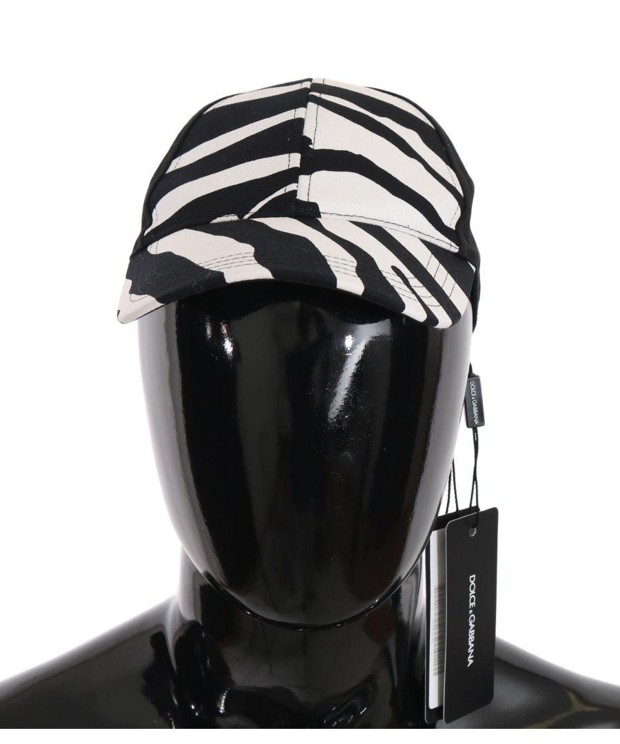 Image for Dolce & Gabbana Black White Zebra Print Cotton Baseball Cap