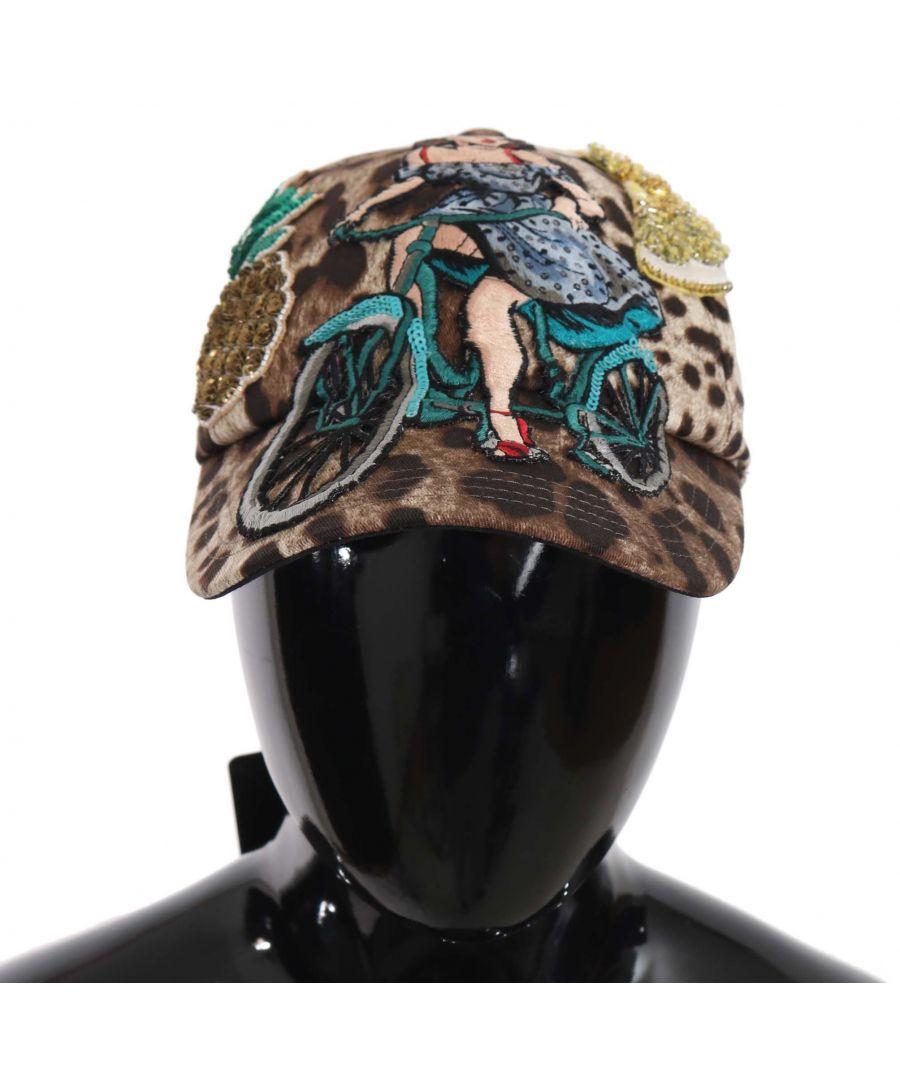 Image for Dolce & Gabbana Brown Leopard Sequin Sicily Applique Baseball Hat