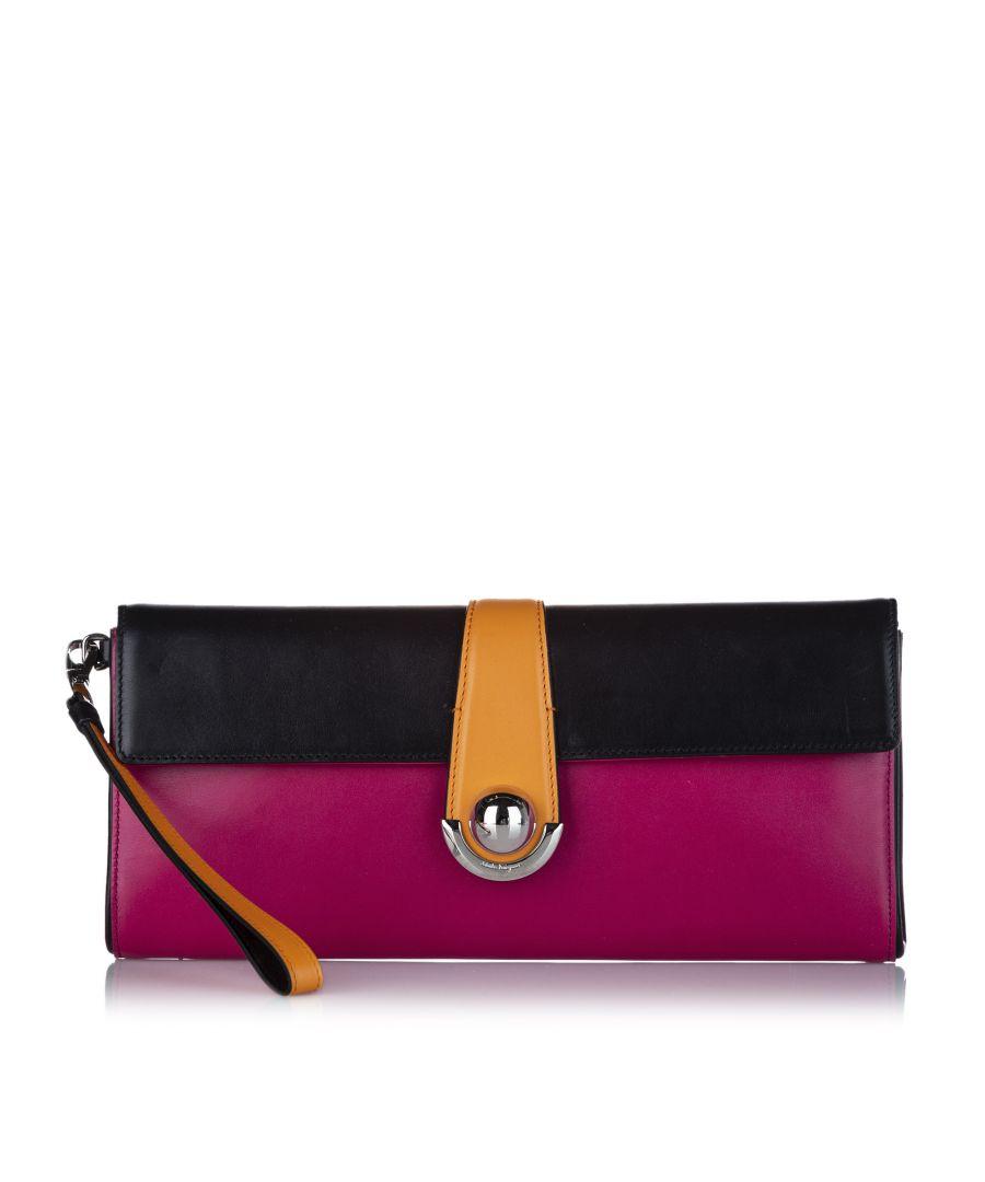Image for Vintage Ferragamo Leather Clutch Bag Pink