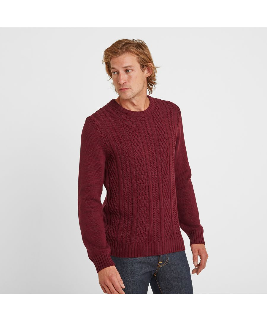 Image for Aaron Mens Cable Knit Jumper Maroon