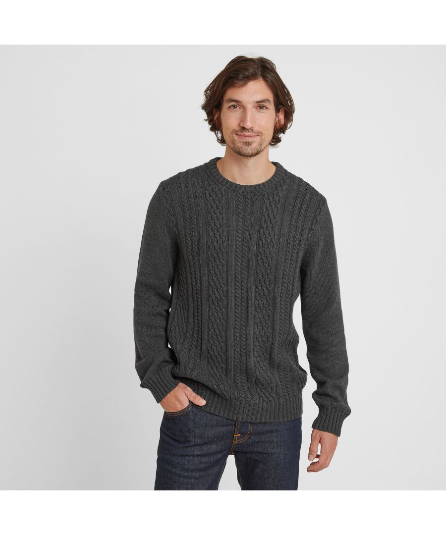 Image for Aaron Mens Cable Knit Jumper Dark Grey Marl