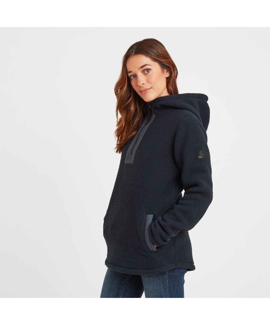 Image for Albones Womens Sherpa Fleece Hooded Jacket Dark Indigo