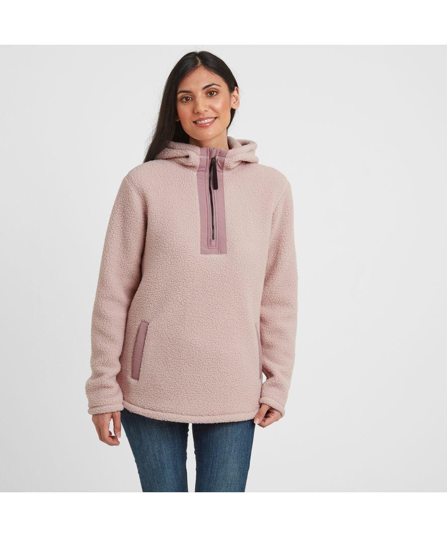 Image for Albones Womens Sherpa Fleece Hooded Jacket Rose Pink