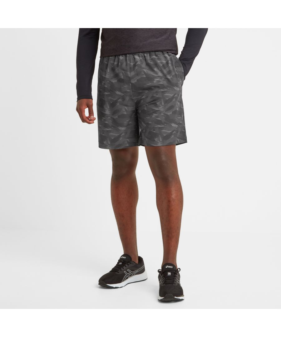 Image for Dawes Mens Running Shorts Coal Grey Print