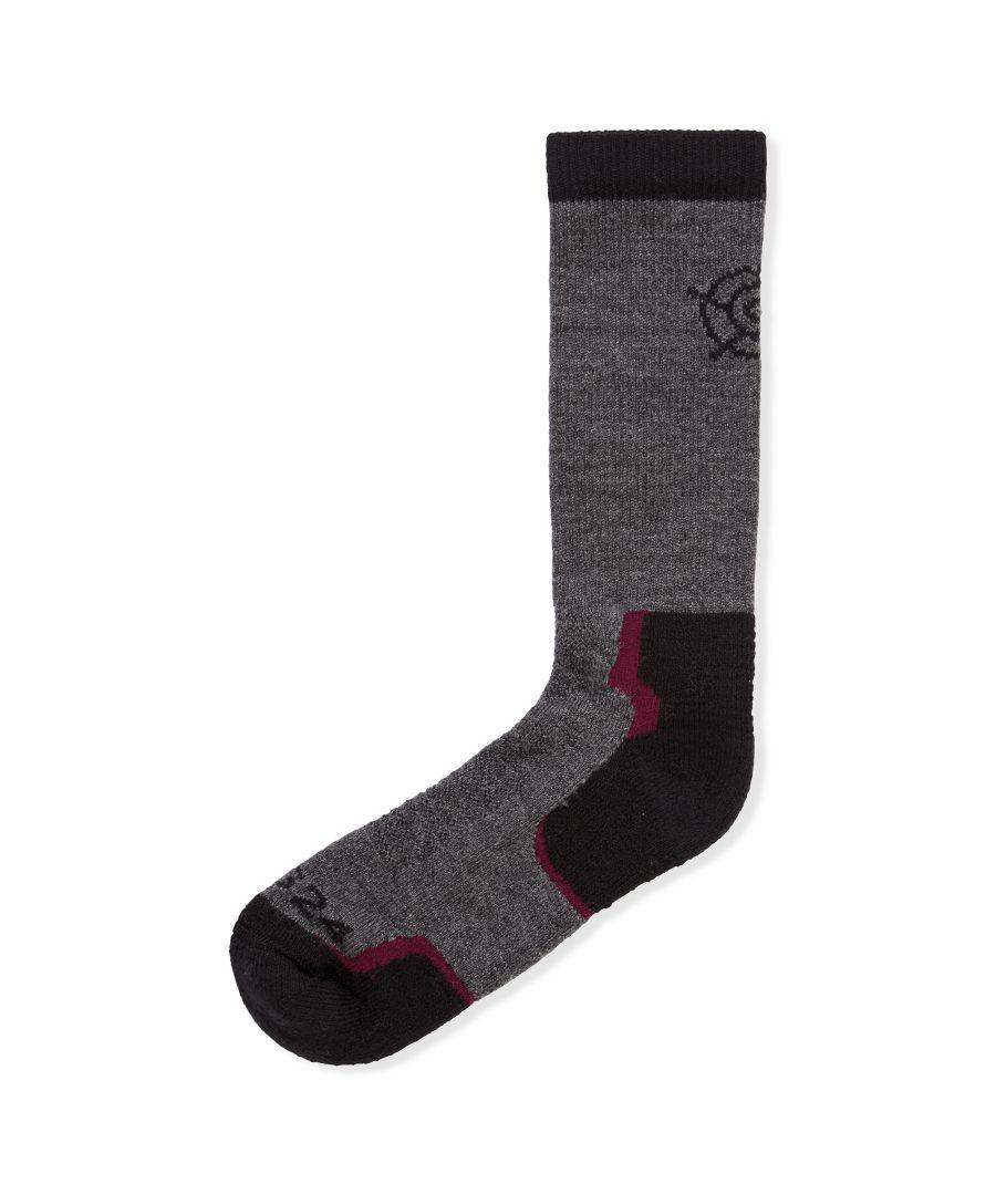 Image for Dunford Merino Trek Socks Chilli/Dark Grey Marl