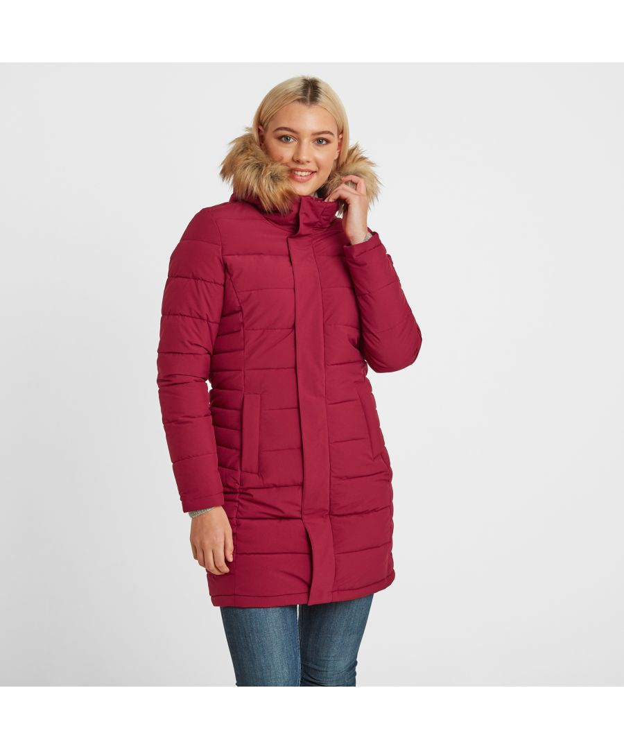 Image for Firbeck Womens Long Insulated Jacket Raspberry