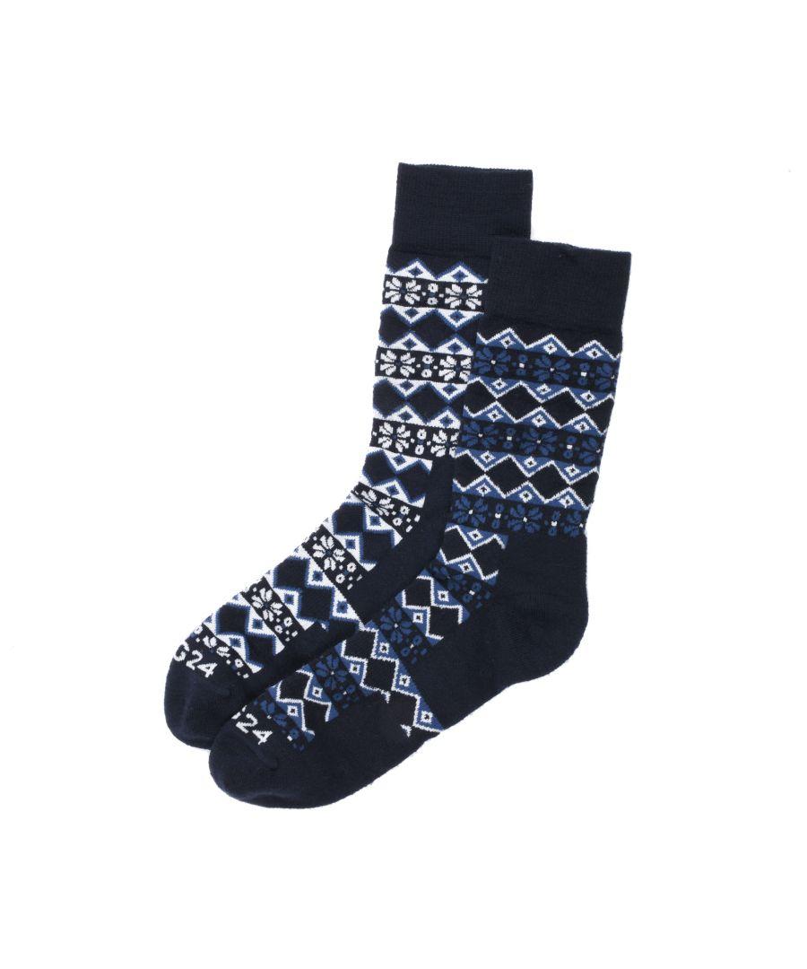 Image for Kilpin Trek Socks Navy Fairisle