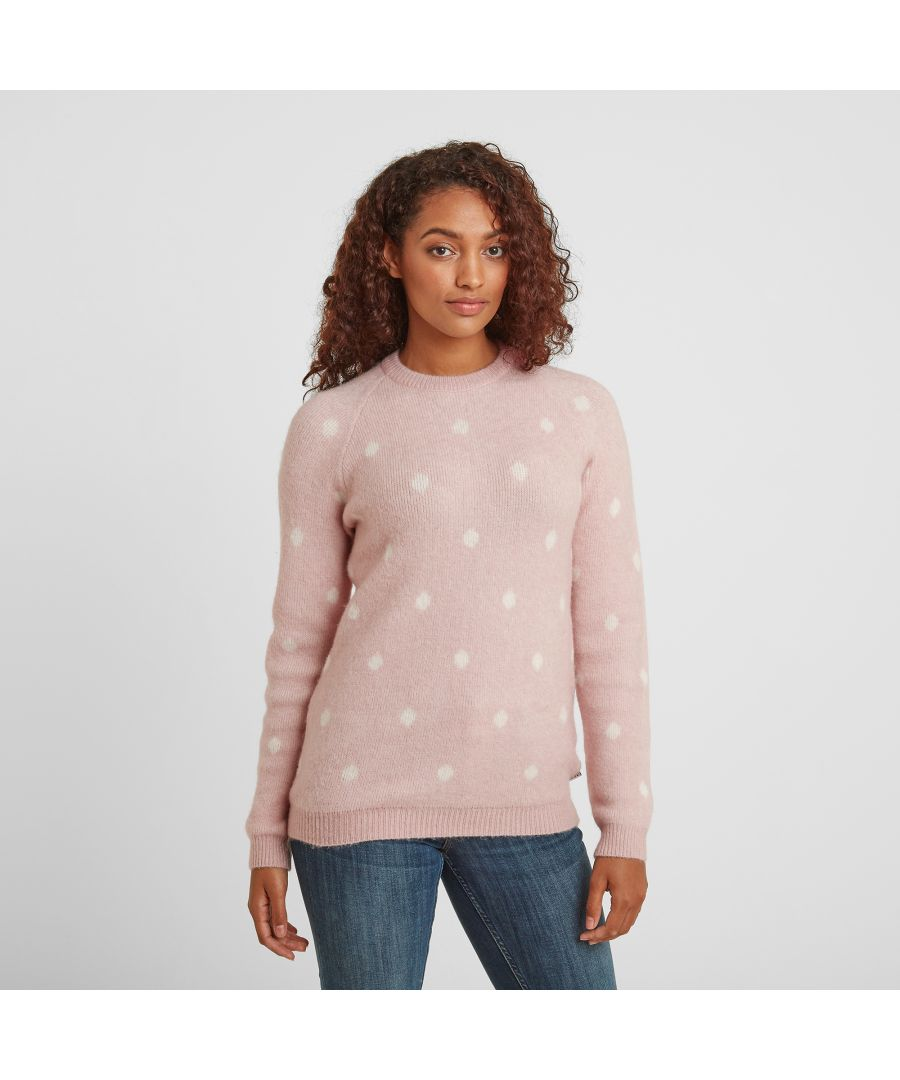 Image for Layla Womens Polkadot Knit Jumper Faded Pink