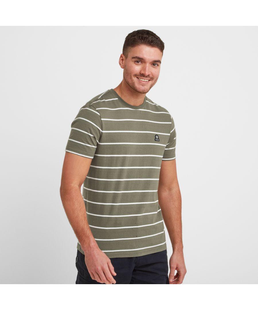 Image for Moore Mens Stripe T-Shirt Light Khaki/Optic