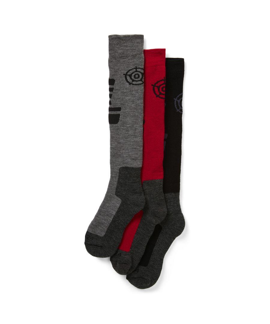 Image for Oberau Mens 3pk Merino Ski Sock Chilli/Black/Grey Marl