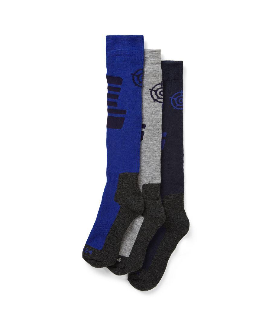 Image for Oberau Mens 3pk Merino Ski Sock Royal/Indigo/Grey