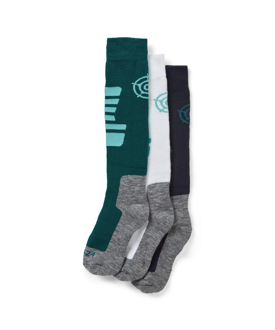 Image for Oberau Womens 3pk Merino Ski Sock Dark Indigo/Pacific Blue