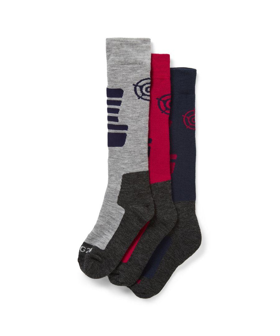 Image for Oberau Womens 3pk Merino Ski Sock Dark Indigo/Dark Pink