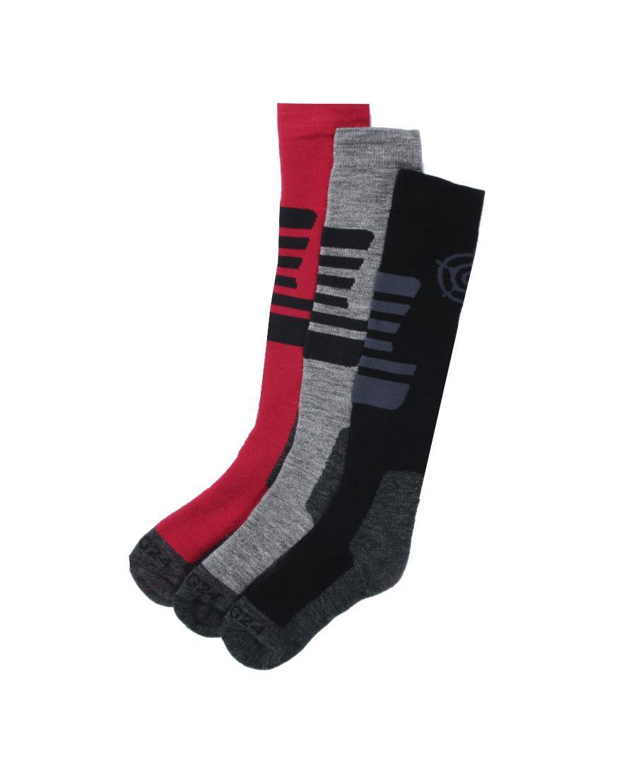 Image for Oberau Kids 3pk Merino Ski Sock Black/Grey Marl/Rumba