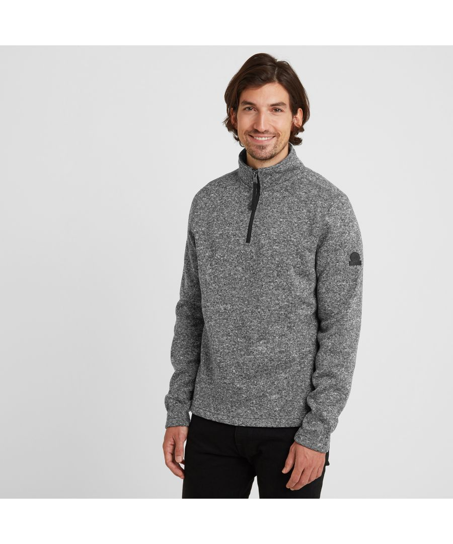 Image for Pearson Mens Knitlook Fleece Zipneck Dark Grey Marl