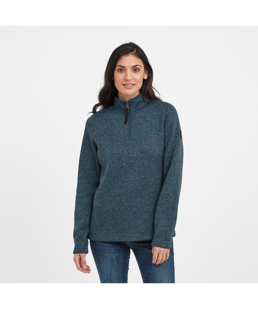 Image for Pearson Womens Knitlook Fleece Zipneck Jewel Blue