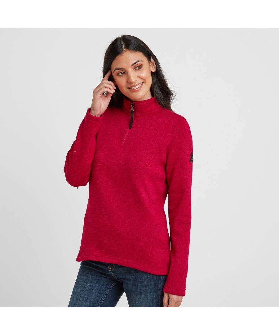 Image for Pearson Womens Knitlook Fleece Zipneck Dark Pink