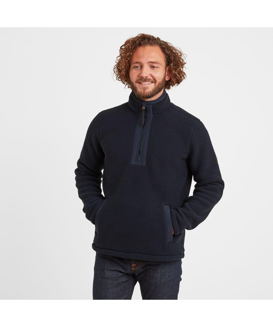 Image for Pollard Mens Sherpa Fleece Zipneck Dark Indigo