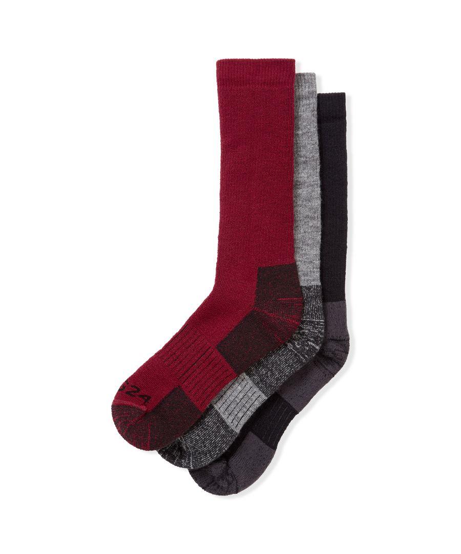 Image for Rigton 3pk Merino Trek Socks Black/Chilli/Dark Grey