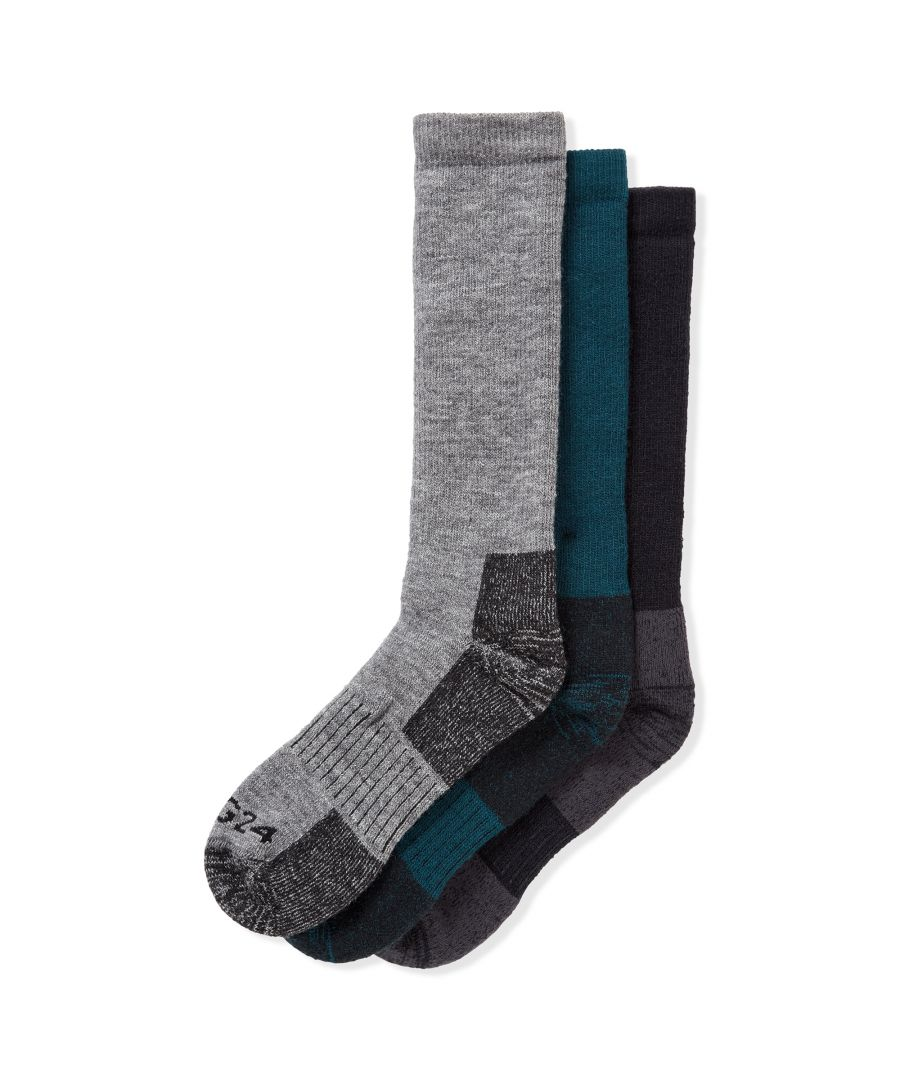 Image for Rigton 3pk Merino Trek Socks Navy/Lagoon/Dark Grey