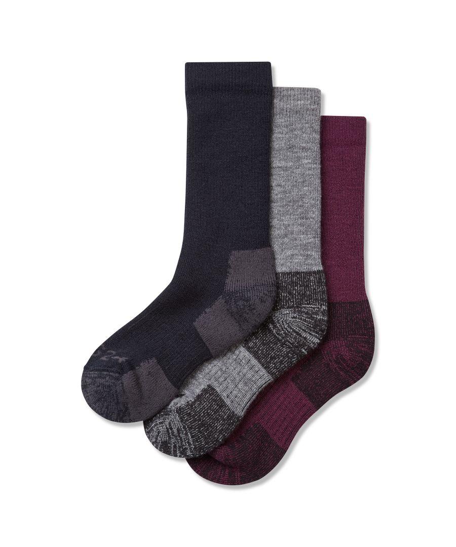 Image for Rigton 3pk Merino Trek Socks Mulberry/Navy/Grey