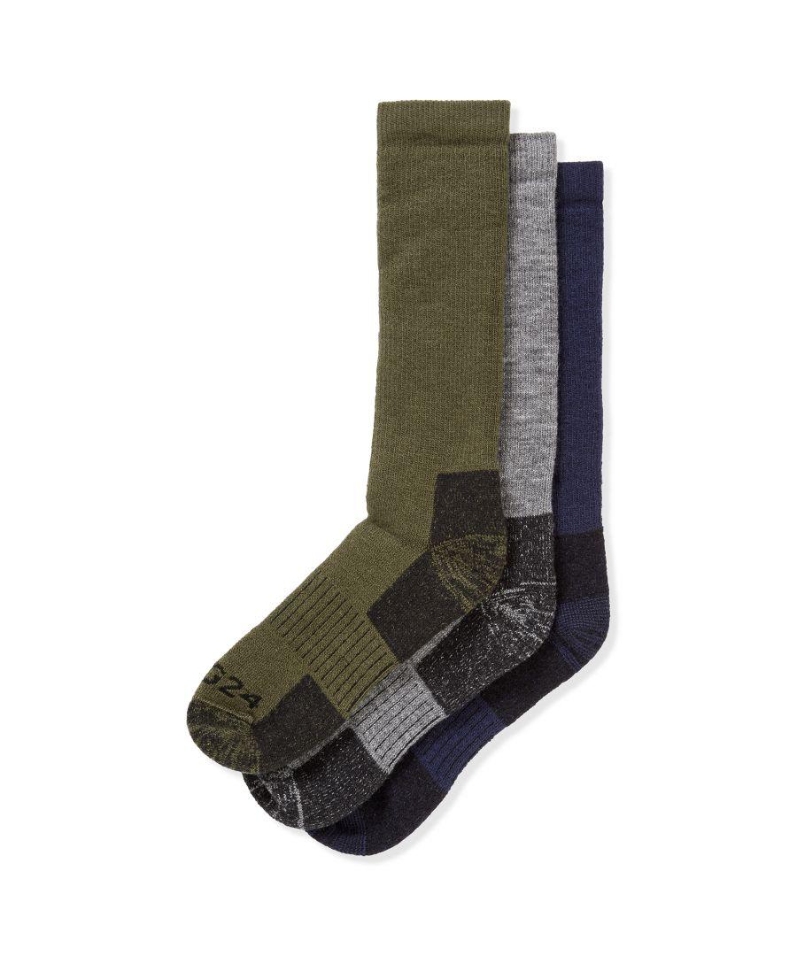 Image for Rigton 3pk Merino Trek Socks Grey Marl/Khaki/Dark Indigo