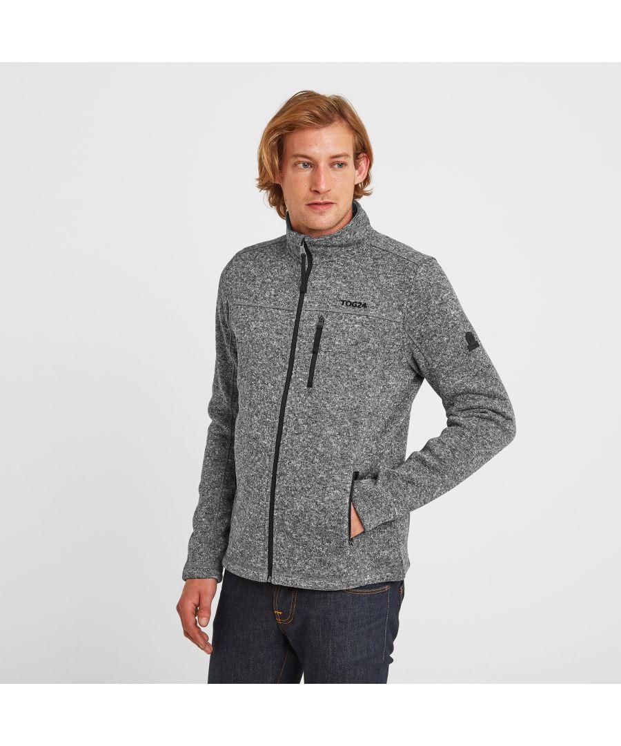 Image for Sedman Mens Knitlook Fleece Jacket Dark Grey Marl