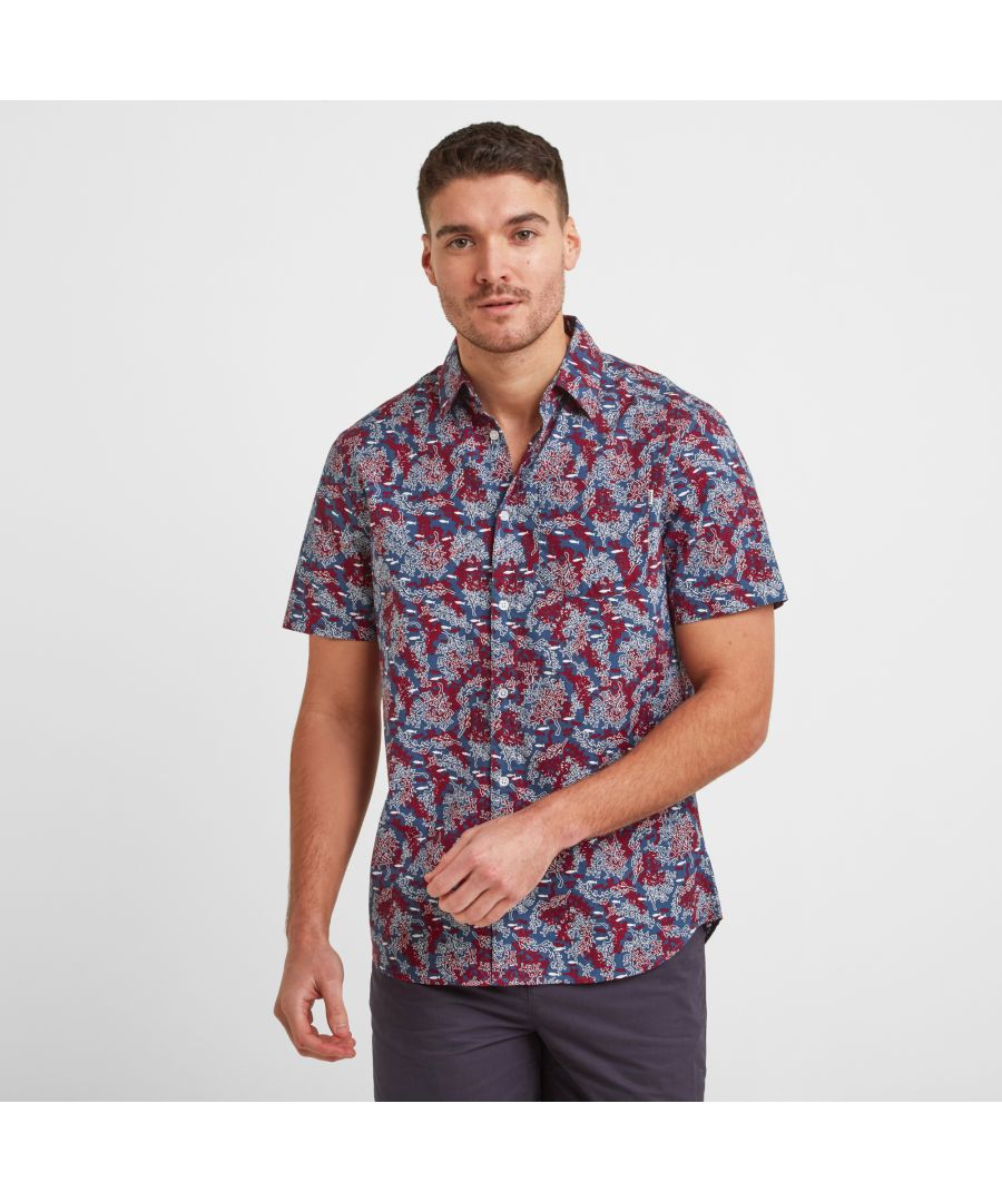 Image for Wesley Mens S/S Shirt Red Coral AOP