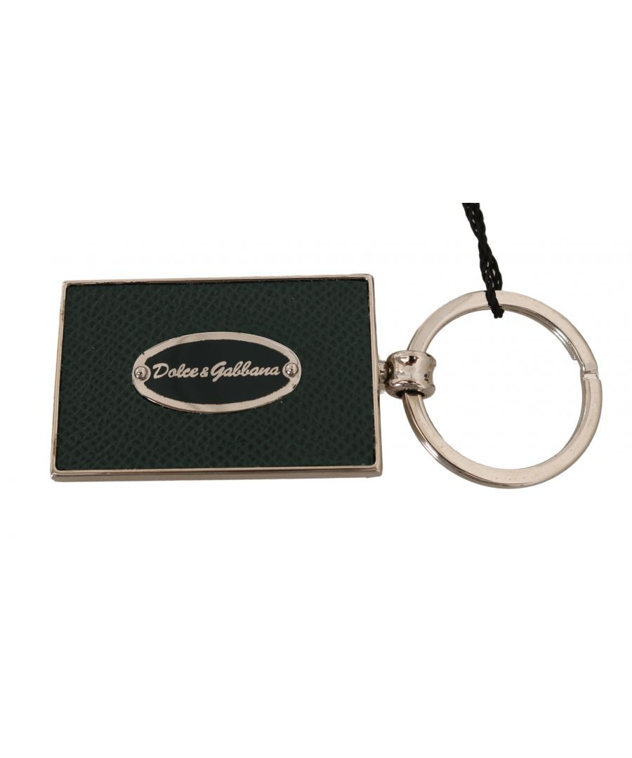 Image for Dolce & Gabbana Green Dauphine Leather Silver Logo Keyring Keychain
