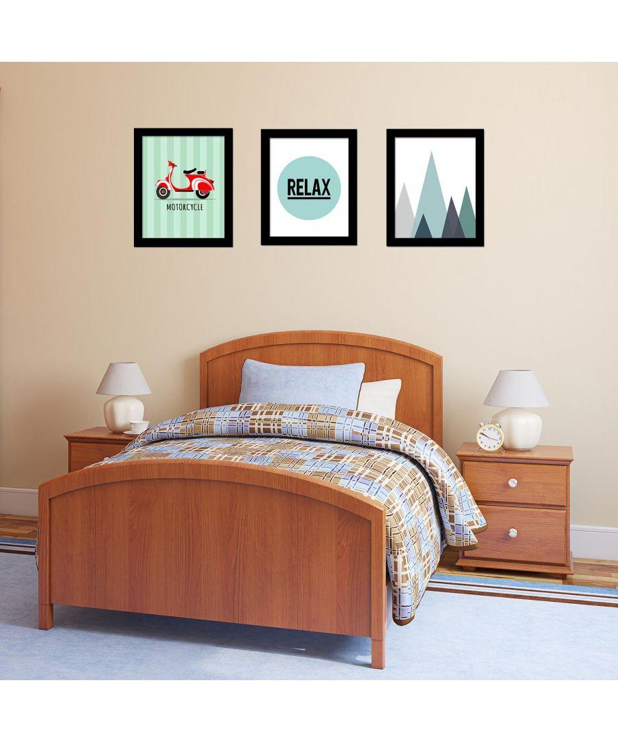 Image for Relax Art Canvas Printing + Landscape Art Canvas Printing + Motorcycle Art Canvas Printing Framed Photo, Framed Art