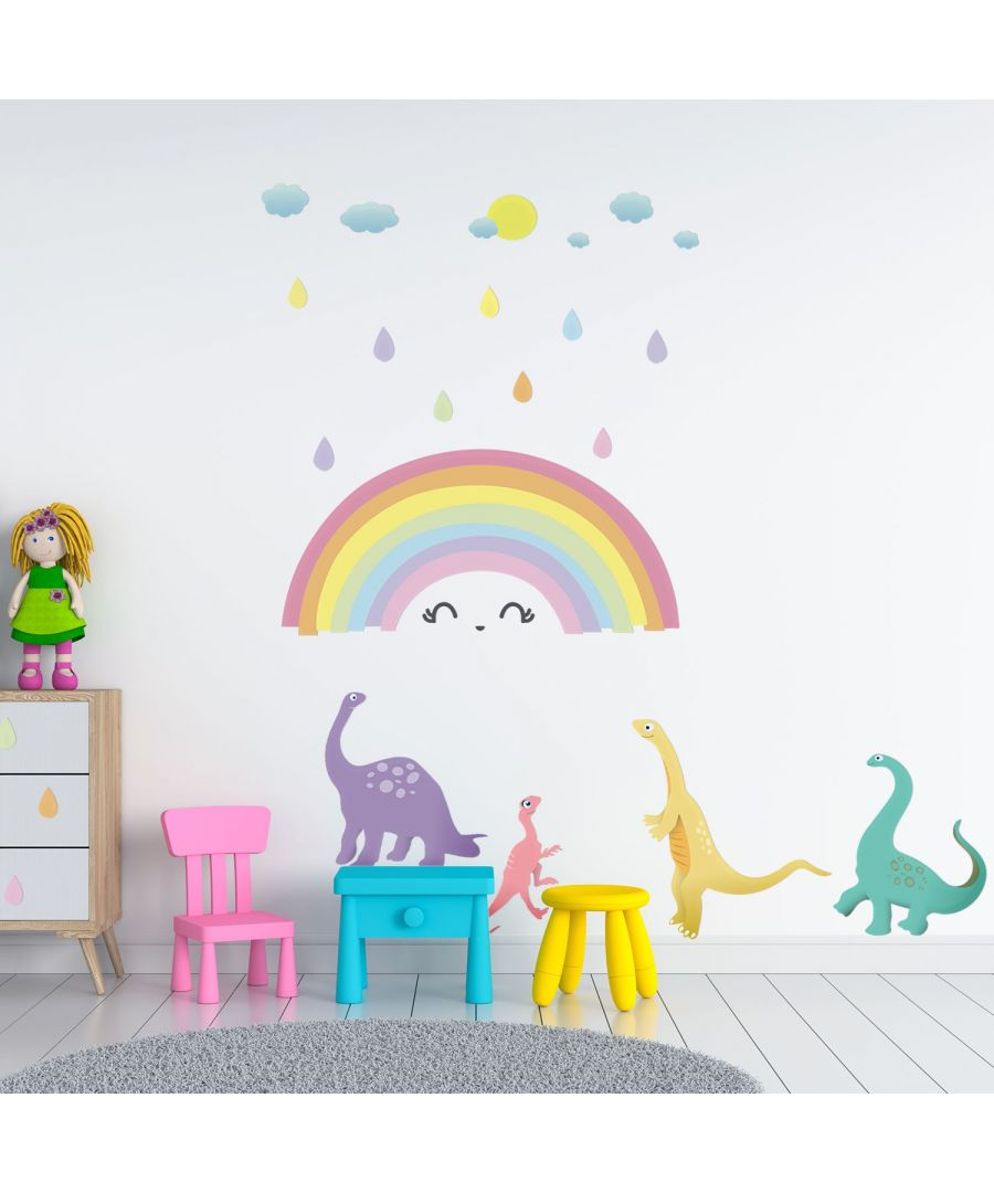 Image for Wall Art - Colourful Rainbow Happy Dinosaurs